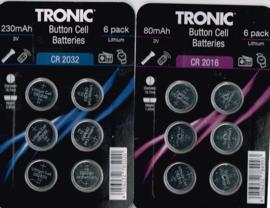batterijen set CR2016 Button Cell batteries 6 pack lithium/ 80mAh/ 3v/ diameter 19,7 mm/ hoogte 1,4 mm/ C2032/ hoogte 2,9 mm/ 230mAh