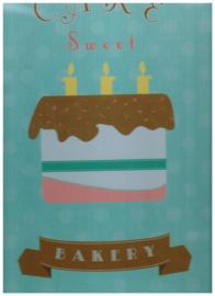 set 2/ vintage plakkaat 28x40 cm/ tekst bakery since 1982/ gekleurd/ hout/ FSC Mix