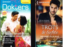 harlequin boeken set / pocket 2x/  Trots & Liefde/  Tropische temperaturen/ opwindende dokters
