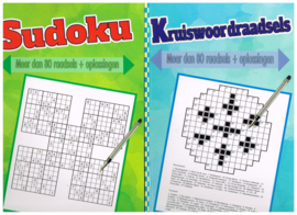 puzzelboeken set 5 stuks/ varia/ A5 formaat/ zweeds raadsels/ puzzel varia/ doorlopers/ sudoku/ kruiswoordraadsels