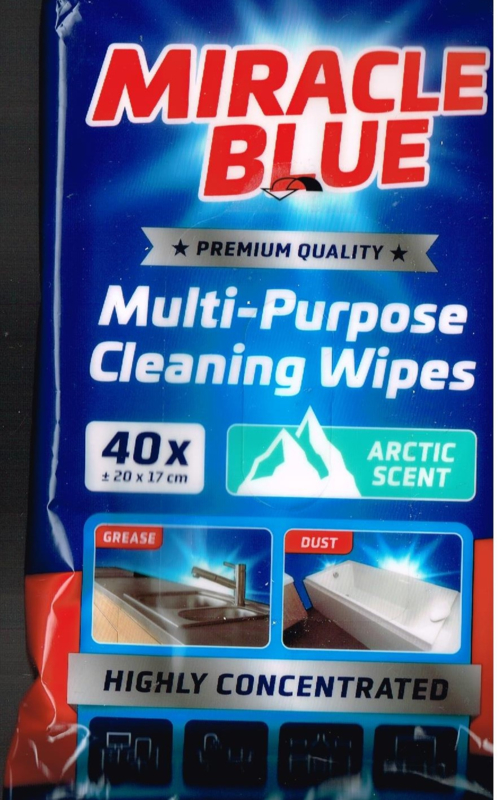 5 x multi- purpose cleaning wipes/ arctic scent/ 40 stuks/ 20 x 17 cm/ highly concentrated/  for grease and dust/ premium quality