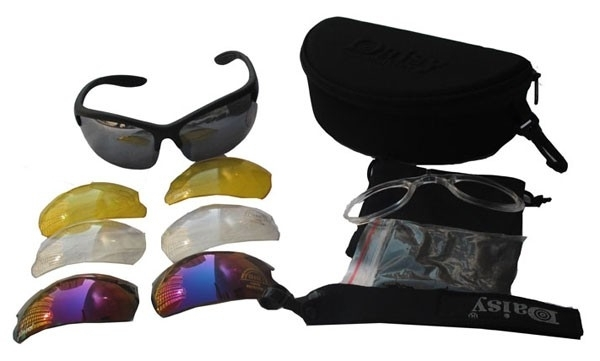 (1006) Daisy schietbril met 4 verschillende glazen