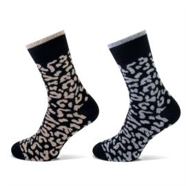 Teckel Wolmix - Damessokken - Leopard - 2 Paar