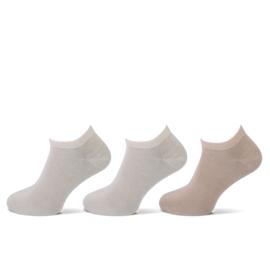 Teckel - Sneaker Sokken - Beige - 6 Paar