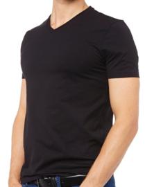 V hals - Tshirts - Zwart - 5 Pack