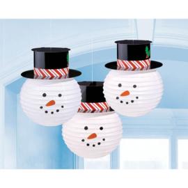 Lampion sneeuwman 3 stuks