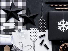 Zwarte kerststerren decoratie pakket - 6 stuks