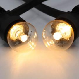 Prikkabel met transparante lampen met lens
