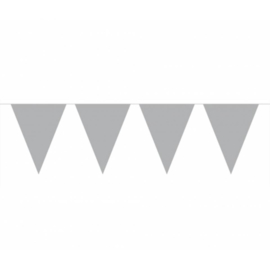 Vlaggenlijn zilver kleurige vlaggetjes 10 meter