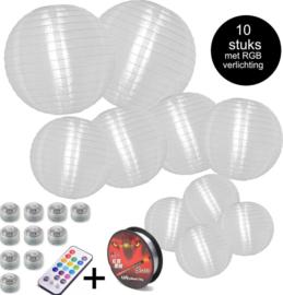 10 witte buiten lampionnen + gekleurde led verlichting