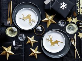 Goud kleurige kerststerren decoratie pakket - 6 stuks