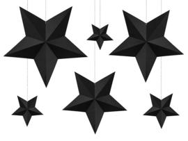 3D zwarte sterren DIY decoratie pakket - 6 stuks