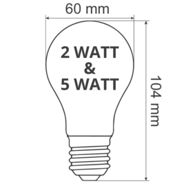Grote led lamp 2 W. warm wit - Gloeilamp model