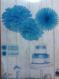 Set pompons met papieren waaier - Licht blauw