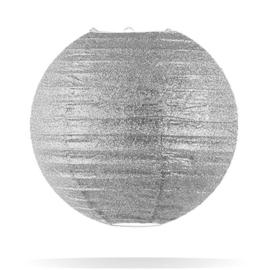 Glitter lampion zilver 25 cm