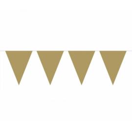 Vlaggenlijn goud kleurige vlaggetjes 10 meter