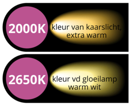 Kant en klare prikkabels met transparante led priklampen 0,7 Watt- 2000 K