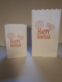 Candle bag Happy Newyear midi 10 stuks