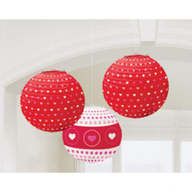Lampionnen rood met hartjes 3 stuks