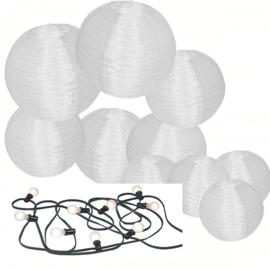 20 witte nylon lampionnen + prikkabel