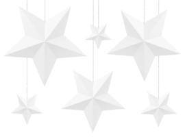 3D witte sterren DIY  decoratie pakket - 6 stuks