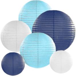 Lampion pakket 10 stuks lichtblauw-donkerblauw-wit