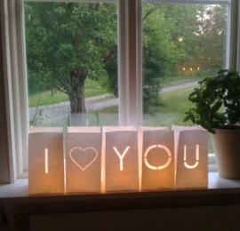 Candlebag woordset I ♥ YOU - groot