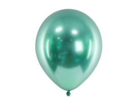 Chroom ballonnen groen 30 cm - 10 stuks