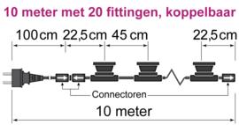 Lichtsnoer met melkwitte led lampen 1 Watt - 2650K