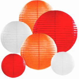 Lampion pakket 10 stuks rood-oranje-wit