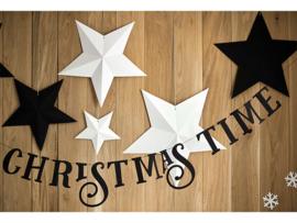 Witte kerststerren decoratie pakket - 6 stuks