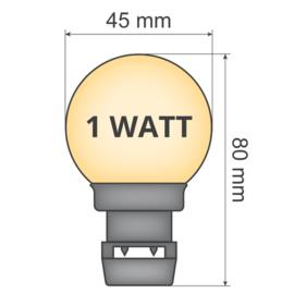 Kant en klare prikkabels met melkwitte led priklampen 1 Watt - 2650 K
