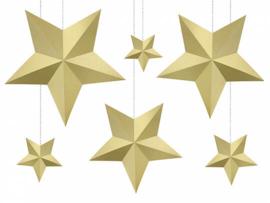 3D gouden sterren DIY decoratie pakket - 6 stuks