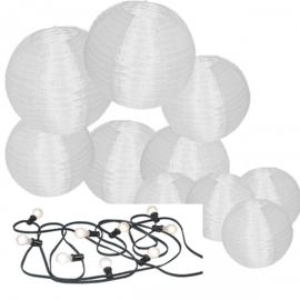 10 witte nylon lampionnen + prikkabel