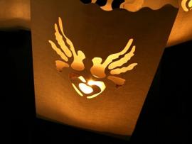 Candlebag hartje duifjes 10 stuks