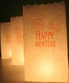 Candlebag Happy Newyear opdruk 10 stuks