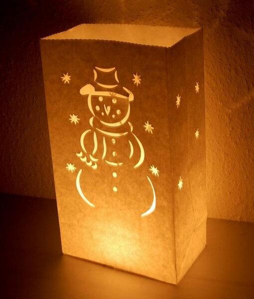 Candlebag kaarszak Sneeuwpop 10 stuks