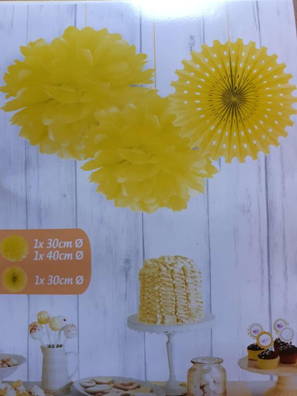 Set pompons met papieren waaier - Geel