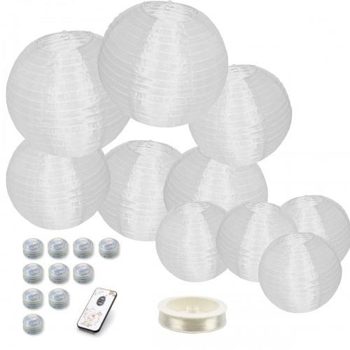 10 witte nylon lampionnen + losse verlichting