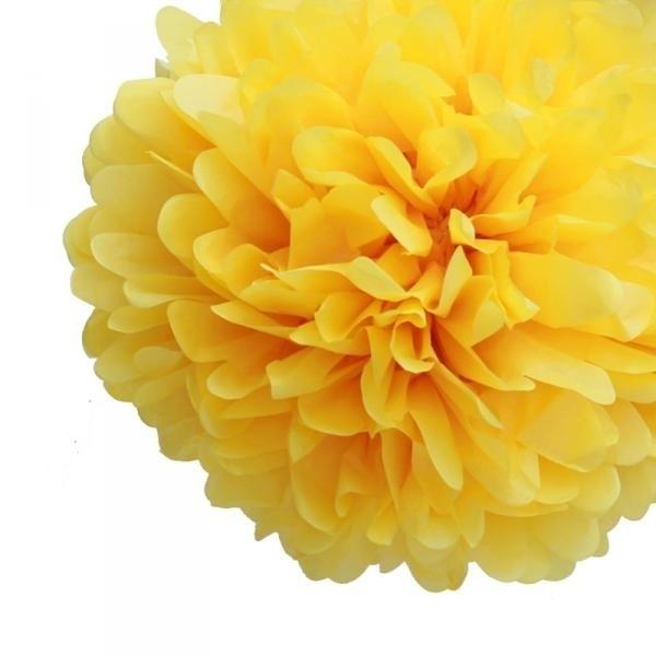 Pompom geel 35 cm