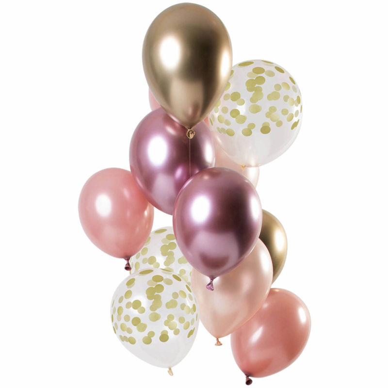 Ballonnen set Golden Blush 12 stuks