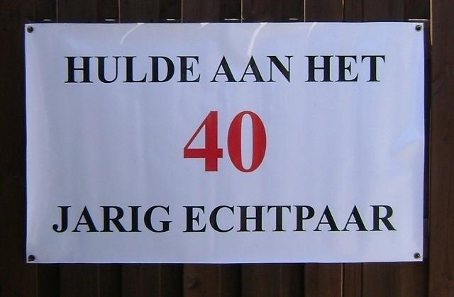 Banner 40 jarig huwelijk.