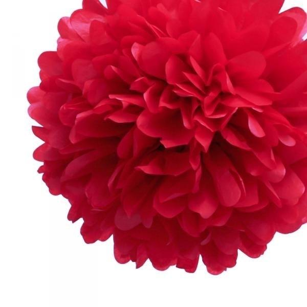 Pompon rood 35 cm