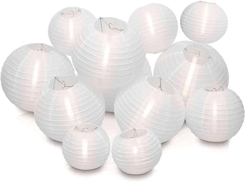 Nylon lampionnen pakket wit 100 stuks