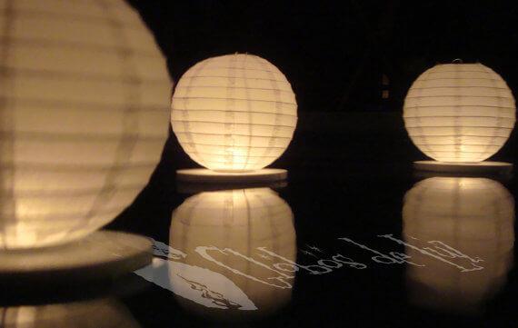 Drijvende lampionnen nylon - 35 cm 10 stuks