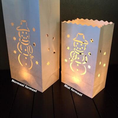Candlebag sneeuwpop midi 10 stuks