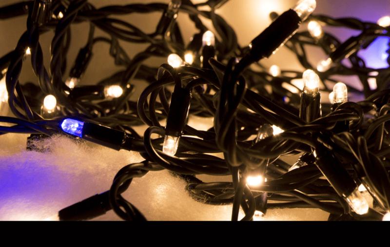 Kerstverlichting koppelbaar voor buiten met blauwe fonkel 10 meter - 100 led lampjes
