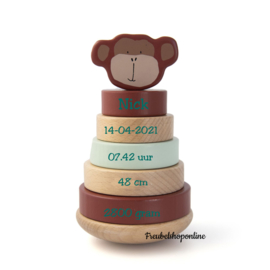 Trixie Houten stapeltoren - Mr. Monkey met naam / geboortegegevens