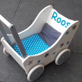 Houten poppenwagen met naam wit/zilver