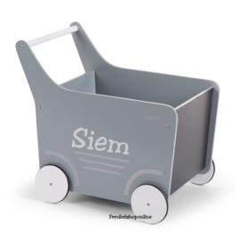Loopwagen met naam - loopkar - mint